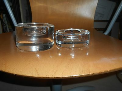 2 orrefors candle/tea light holders