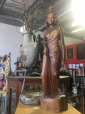 Wooden Carved Lady Art Statue