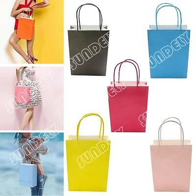 50Pcs Kraft Paper Gift Bag With Handles Luxury Wedding Party Bags Recyclable
