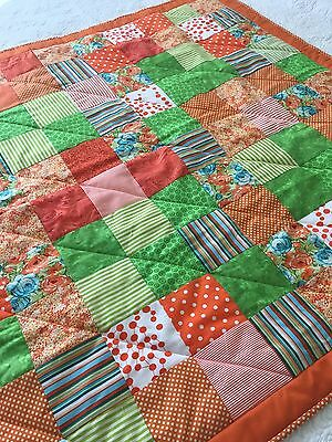 handmade patchwork quilt Orange And Green