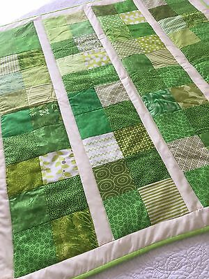 Handmade patchwork quilt Green And Cream