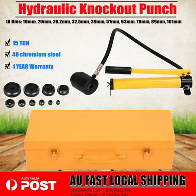 15 Ton 10 Dies Hydraulic Steel Hole Punch Driver Knockout Kit Industry 16-101mm