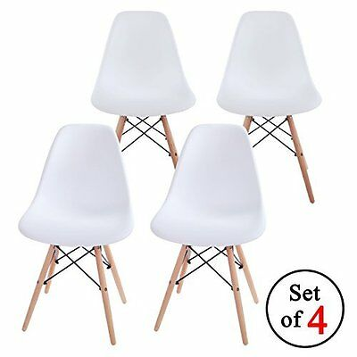 Set Of 4 Eames Style Eiffel DSW Retro Dining Lounge Chairs Wood Legs in White