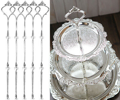 Silver 5 Sets 3 Tier Silver Wedding Cake Plate Stand Center Handle Fitting AU