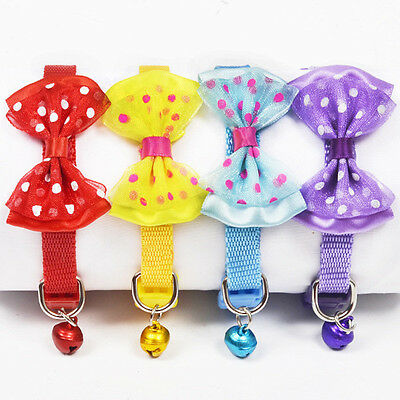 12PCS Pet Cat Bow Tie Collar with Bell Reflective Breakaway Kitten Dog Collar