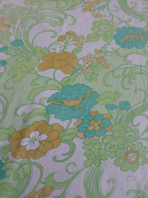Retro Vintage Floral  Green And Orange Flannel Sheet Fabric..