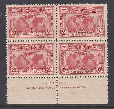 AUSTRALIA 1931 2d RED KINGSFORD SMITH IMPRINT BLOCK OF 4 MUH