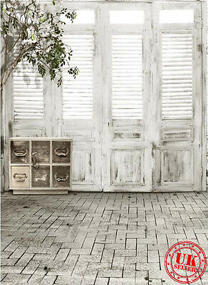 White Wood Window Tile Floor Backdrop Background Vinyl Photo Pro 5X7Ft 150X220Cm