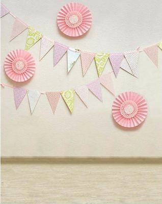 PINK BUNTING PAPER FAN PARTY BACKDROP BACKGROUND VINYL PHOTO PRO 5X7FT 150x220CM