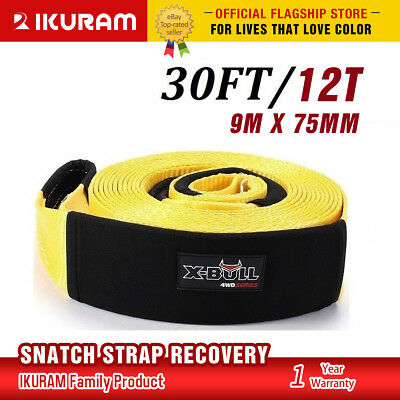 "3"" 12T 9M*75MM Snatch Strap Recovery Tow Strap Winch Extension 4WD Heavy Duty"
