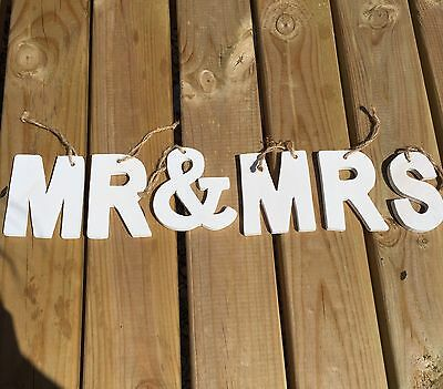 Mr & Mrs White Wooden Letters, Hanging Wedding Decorations With Hessian String