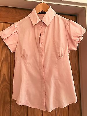 Pink and White Bubble Sleeve Shirt - Size 10