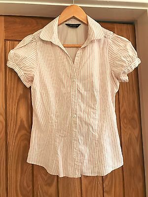Red and White Bubble Sleeve Shirt - Size 10