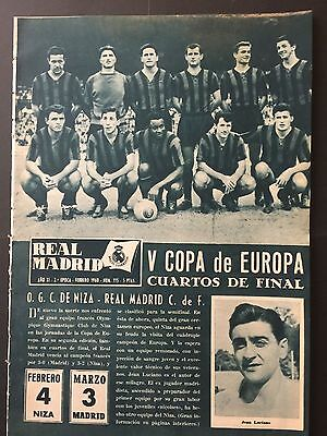 1960 European Cup.Quarter-finals. Nice v Real madrid. Preview