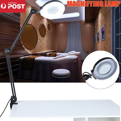 New Magnifying Lamp 5X Light Glass Lens Rolling Desk Stand Salon Magnifier Tool