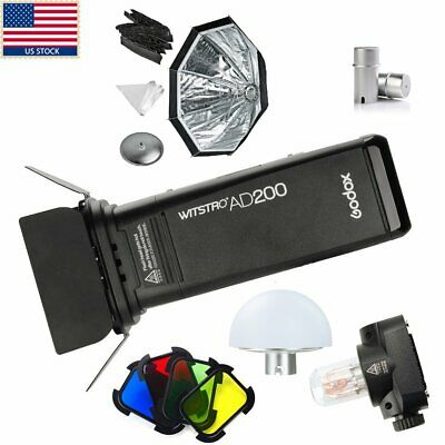 Godox AD200 2.4G TTL 1/8000s HSS Double Head Flash Speedlite Softbox Filter Kit