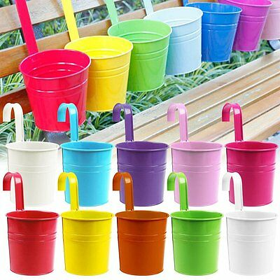 10 Colors Metal Iron Flower Pot Hanging Bucket Balcony Garden Planter Home Decor