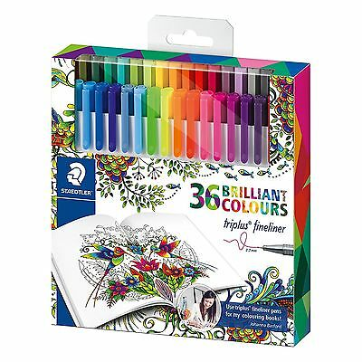 Staedtler Triplus #334 36pc Triangular 0.3mm Fineliner Fibre Tip Colour Pens