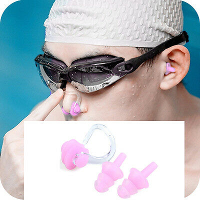 UK Soft Kids Adults Swimming Diving In Ear Plugs And Nose Clip Set Pink
