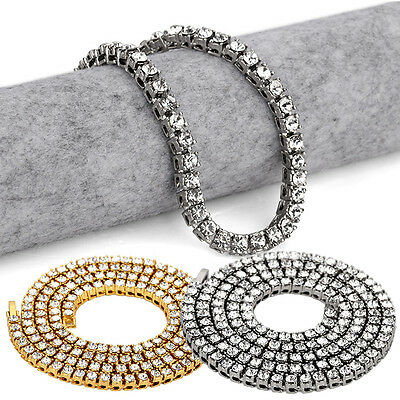 """20""""/24""""/30"""" Necklace Chain Silver Gold Plated Mens Hip Hop One Row Alloy Diamond"""