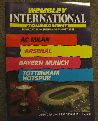 1988 Wembley Tournament. AC Milan Arsenal Bayern Munich Tottenham/Spurs.