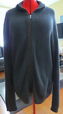 COUNTRY ROAD Wool Blend Grey Ribbed Zip Up Cardigan/Jacket In EC Size XXL