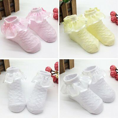 Cute Baby Girls Socks Non-Slip Lace Cotton Ankle Socks NewBorn Infant Boots AU