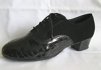Mens Black Cuban Heel Ballroom, Latin, Salsa, Jive Dance Shoes - UK Size 12