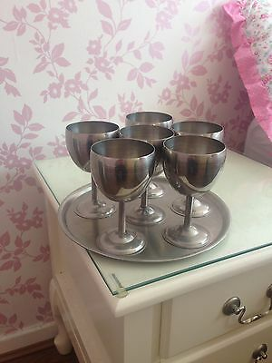 6 Stainless steel / Silver goblets With Matching Tray