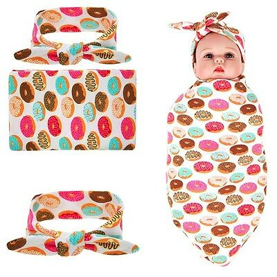 Cute Newborn Baby Receiving Swaddle Blanket and Headband Set Donut Wrap 0-3Month