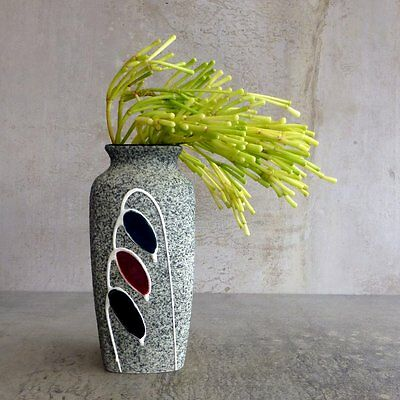 Mid Century Modern Pottery Vase Speckled textured surface 15.6cm tall Vintage