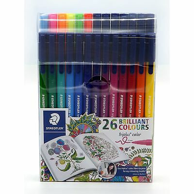 Staedtler Triplus 26pc 1mm Fibre Tip Pens Relaxed Easy Writing Drawing Colouring