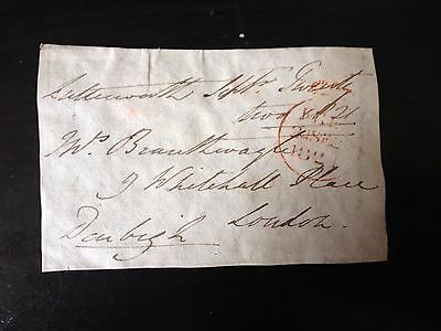 Free Front Dated 1821 - Lutterworth To London - Signed Denbigh