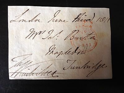 Free Front Dated 1811 - London To Tunbridge - Signed ????