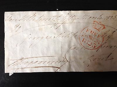 Free Front Dated 1825 - To Canterbury - Signed Abergavenny