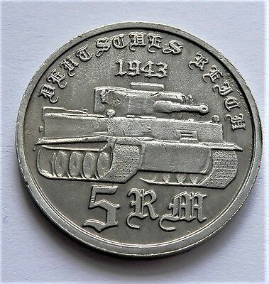 Ww2 1943 Adolf Hitler German Exonumia  5 Reichsmark Tiger Silvered Coin