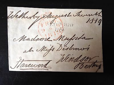 Free Front Dated 1819 - Wetherby To Windsor - Signed Harewood