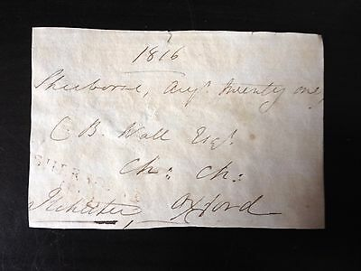 Free Front Dated 1816 - Sherborne To Oxford - Signed Ilchester