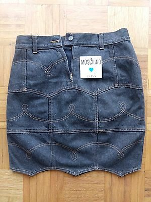 Minigonna SKIRT vintage MOSCHINO LOGO PEACE MADE IN ITALY TG 30-44 JEANS '80 new