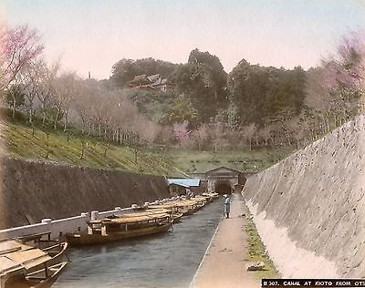 Albumen Photograph Asia Tinted JAPAN Canal At Kyoto from Otsu