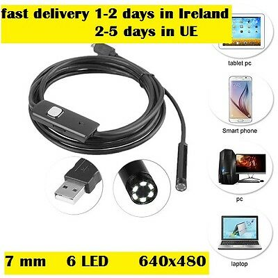 7mm 2m Android Phone Endoscope Waterproof USB/ micro USB Borescope LED Camera