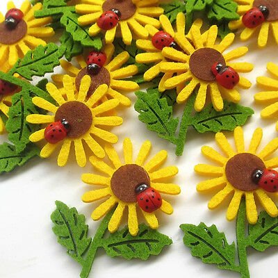 5 pcs Felt Sunflower Bow W/ Ladybug Wedding Decor Bulk Appliques #646