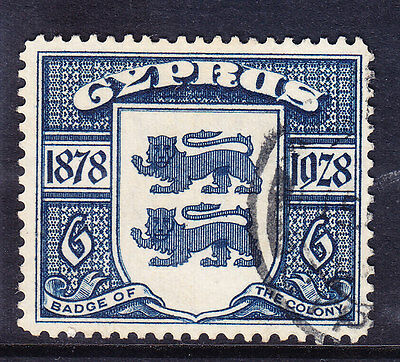 CYPRUS 1928 SG128 6pi blue - fine used. Catalogue £40