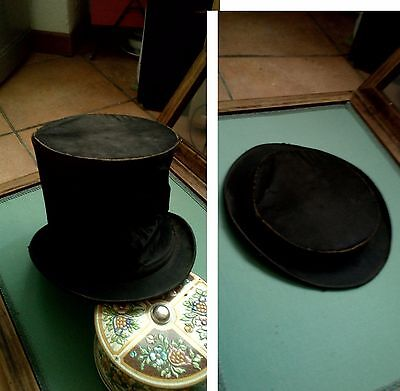 cappello cilindro pieghevole antico vintage old foldable top hat cylinder