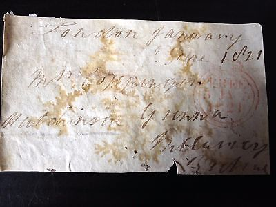 Free Front Dated 1821 - London To ????  - Signed Hutchinson