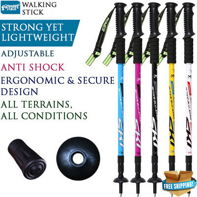 Hiking Trekking Poles Anti Shock Walking Stick Camping Adjustable Lightweight