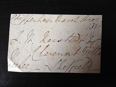 Free Front Dated 1827 - Chippenham To Sheffield - Signed ???