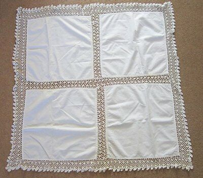 Beautiful Vintage White Linen & Crochet Edged Tablecloth - 39'' Square