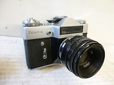 Vintage/Retro Zenit 'E' SLR 35mm Camera - with HELIOS-44-2 Lens.  Made in USSR