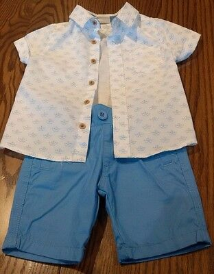 Milky Boys Shirt and Pants Set Blue/White Size 00